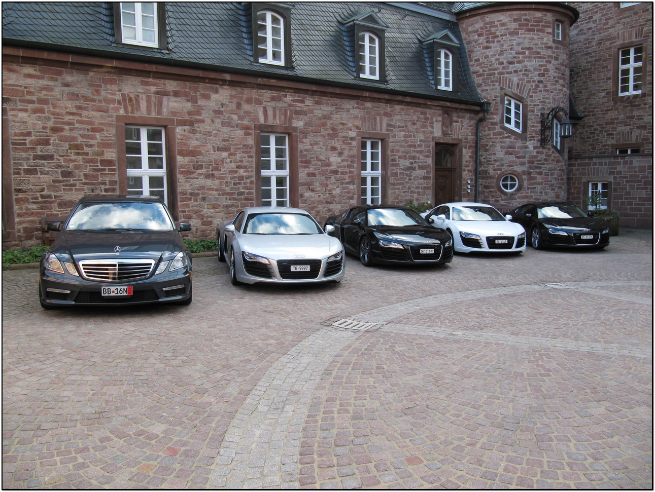 2010 e63 amg parked outside the schlosshotel b hlerh he for Mercedes benz european delivery